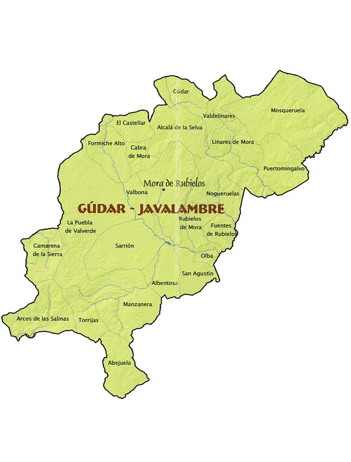 Sierra De Javalambre Mapa.Comarca Gudar Javalambre